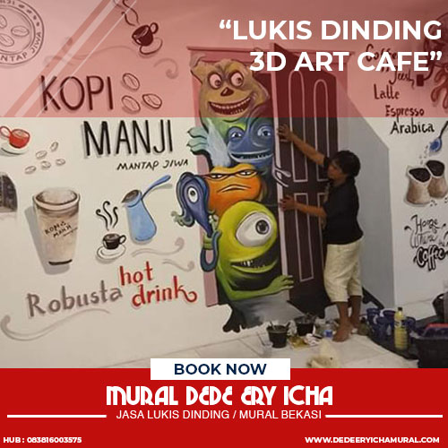 lukis dinding 3d art cafe